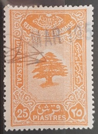 NO11 - Lebanon 1933 Notarial Revenue Stamp 25p Orange, Cedar Design - Lebanon
