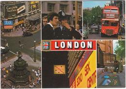 London - Policeman / Bobby, Soho Sex Centre, Cinema, Striptease Neon, Eros, Doubledeck Bus, Austin Taxi - Politie-Rijkswacht