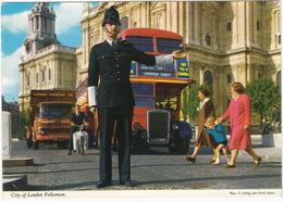 City Of London Policeman / Bobby - Doubledeck Bus, Bedford TK Lorry - John Hinde Postcard - Politie-Rijkswacht