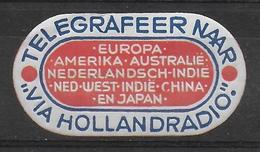 Nederland Telegram Telegraaf Vignet Telegraph Verschlussmarke Hollandradio Ca. 1938 - Other