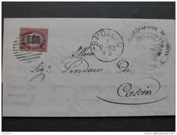 """ITALIA Regno-1878- """"Ondine"""" C. 2 Su 1,00 SPOLETO>CASCIA (descrizione) - 1861-78 Vittorio Emanuele II"""