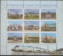Uz 1313-22 Uzbekistan Usbekistan 2018  Railway Station Only Sheet - Usbekistan