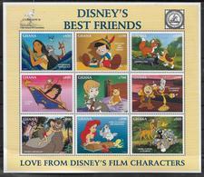 GHANA  Feuillet N° 1938/46  * *   ( Cote 10e )   Disney Pinocchio Aladin Mowgli Bambi Pocahontas - Disney