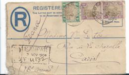 Mly071 / Malaysia, Kampar, Einschreiben Ganzsache Mit Zusatzfrankatur 1904 Nach Paris - Federation Of Malaya