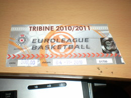 Euroleague Basketball Partizan Beograd - Biglietti Della Lotteria