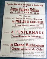 """Affiche """"Exposition Universelle Et Internationale De Bruxelles 1958 """"Journée Culturelle Wallone"""" - Oude Documenten"""