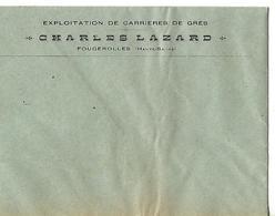 Enveloppe Commerciale Vierge / 70 Fougerolles Charles LAZARD / Exploitation De Carrière De Grès - France