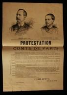 ( Royalisme Maison D'Orléans ) Affiche PROTESTATION DU COMTE DE PARIS EU 24 JUIN 1886 - Posters