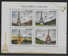 ST THOME ET PRINCE  Feuillet N° 3378/81 * * ( Cote 17.50e ) Avions Concorde Tour Eiffel - Concorde