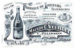 Buvard C.Veuillet, C.Pelisson Successeur. Fabrique De Liqueurs Supérieures. Bourg (Ain). - Liqueur & Bière