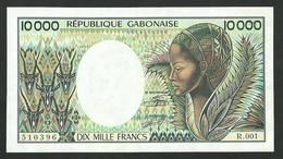 GABON 10,000 FRANCS ND (1984) R001-510396, Sign.9, PICK -7a UNC - Gabon