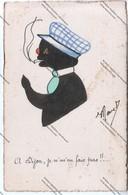 """TRES RARE CPA 21 : """"A Dijon, Je N'm'en Fais Pas !!"""" Représentant Chat Noir Humanisé Et Fumant Une Cigarette Datée 1928 - Animaux Habillés"""