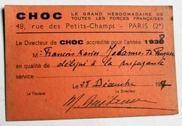 1938 Carte Délégué à La Propagande Hebdomadaire Choc Maurice Guillaume François Xavier Jehanno De Penquer - Documents