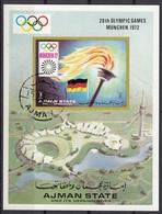 Ajman 1971 Bf. 329B XX Olympic Games Monaco 1972 Fiaccola Sheet Imperf. CTO - Ajman