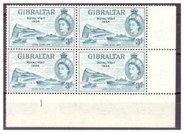 GIBILTERRA - 1954 - ROYAL VISIT. QUARTINA CON NUMERO DI TAVOLA. - MNH** - Gibilterra