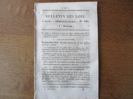 BULLETIN DES LOIS ORDONNANCES N°180 19 SEPTEMBRE 1832 PONT SUSPENDU SUR LA LOIRE A SAINT THIBAUT,SUR LA SAÔNE A LYON.... - Decrees & Laws
