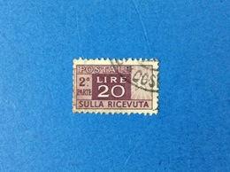 1946 ITALIA PACCHI POSTALI 20 LIRE RUOTA 2^ PARTE FRANCOBOLLO USATO STAMP USED - Postal Parcels