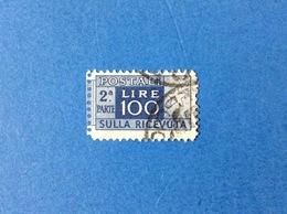 1946 ITALIA PACCHI POSTALI 100 LIRE RUOTA 2^ PARTE RICEVUTA FRANCOBOLLO USATO STAMP USED - Postal Parcels