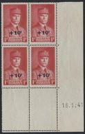 N°494 Type Pétain - Bloc De 4 Coin Daté 18/1/41 - Coins Datés