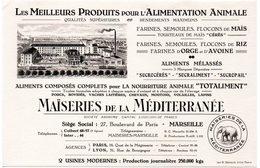 Buvard Produits Pour Alimentation Animale. Maïseries De La Méditerranée à Marseille. - Animals