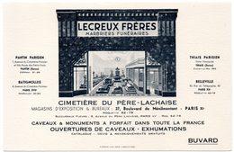 Buvard Lecreux Frères, Marbrerie Funéraire. Cimetière Du Père Lachaise, Paris XIème. - Blotters