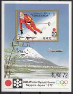 Ajman 1971 Bf. 335B Olympic Winter Games Sapporo. Skiing Sci Sheet Imperf. CTO - Ajman