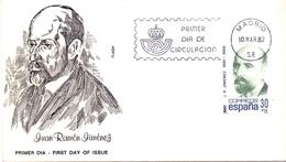 JUAN RAMON JIMENEZ 1982 FDC ESPANA FANTASTIC QUALITY STAMP   COVER  (NOV180049) - FDC