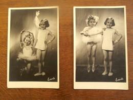 Twee Stuk Fotopostkaarten BALLET Dansende Kinderen  Handteken   EVERTS - Gehandtekende Foto's