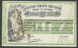 URUGUAY, SOCIEDAD FOMENTO TERRITORIAL 10 PESOS 1868 PICK # S481 XF BANKNOTE - Uruguay