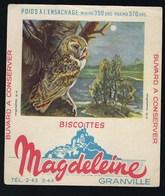 """Buvard  Biscottes Magdeleine  Granville """"chouette Effraie"""" - Animals"""