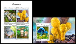 SAO TOME 2018 **MNH SMALL Mushrooms Pilze Champignons M/S+S/S - OFFICIAL ISSUE - DH1844 - Champignons