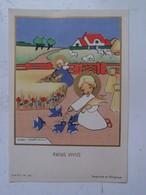 Oud Prentje   1945   Gesigneerd  MIEKE VANDOOREN Bruxelles              Imprimé  Belgique - Communion