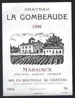 Etiquette Vin  Chateau La Gombeaude Margaux 1990  Négoce - Bordeaux
