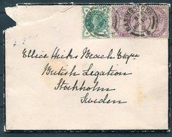 1901 GB Victoria Mourning Cover Basingstoke - Ellice Beach, British Legation, Stockholm Sweden. Diplomatic - Storia Postale