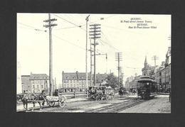 QUÉBEC - VILLE DE QUÉBEC - RUE ST PAUL ( BASSE VILLE ) VERS 1907 - TRAMWAY ÉLECTRIQUE ET VOITURES AVEC CHEVAUX - Québec - La Cité