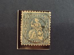 """SUISSE -1862- Helvetia Assise - Oblitéré    - N°  36     """" 10c Bleu   """"  Accroc Au Milieu-   Cote 0.50   Net   0.15 - 1862-1881 Helvetia Assise (dentelés)"""