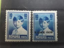 ROMANIA / Roumanie , 1930  Roi Michel 1er  , Yvert No 380 , Surchargé Neuf * MH &  387 , 10 Lei Bleu Neuf ** MNH  TB - 1918-1948 Ferdinand, Charles II & Michael