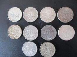 Lot De 10 Pièces 5 Francs Semeuse - J. 5 Francs