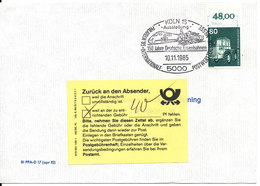 Germany Underpaid Cover Sent To Sweden Köln 10-11-1985 And Returned For Payment Of The Correct Postage Single Franked - Covers & Documents