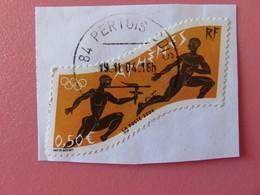 Timbre France YT 3687 - Jeux Olympiques D'Athènes (Grèce) - 2004 - Sur Fragment - Tampon Rond Perthuis (84) - France