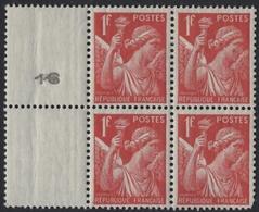 N° 433 Bloc De 4 Neuf Avec Pont Latéral Numéroté - 1939-44 Iris
