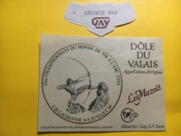 9023 - 35e Championnats Du Monde De Tir à L'Arc Lausanne 1989 Dôle Gay 1988 - Etiketten