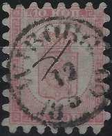 Finlande Coat Of Arms (FACIT) N°4C1Kb Rose Carmine Sur Papier Rose Pale Roulette I Obl Petit Dateur Wiborg +4 Manuscrit - 1856-1917 Administration Russe