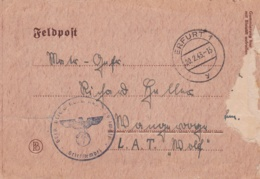 "German Feldpost WW2: To A Sailor In L.A.T. ""Rolf"" From IG Ausbildung Kompanie 29 In Erfurt P/m Erfurt 20.2.1943 - Militaria"