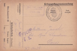 Prisoner Of War From French POW In Germany, Kriegsgefangenenlager Königsbrück (Sachsen) Posted 17.4.1916 - Militaria