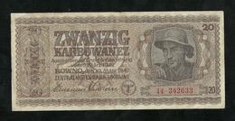 UKRAINE,GERMAN OCCUPATION WWII 20 KARBOWANEZ 1942 PICK-53, VF - Oekraïne