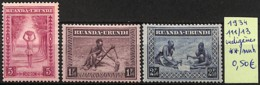 [825196]Ruanda-Urundi 1934 - N° 111/13, Indigènes, Costumes - 1924-44: Mint/hinged