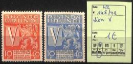 [825201]Ruanda-Urundi 1942 - N° 148/49, Lion V - 1924-44: Mint/hinged