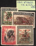 [825202]Ruanda-Urundi 1943 - N° 150/53,  Félins, Animaux - 1924-44: Mint/hinged