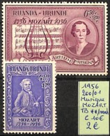 [825215]Ruanda-Urundi 1956 - N° 200/01, Mozart, Musique, SNC - Ruanda-Urundi